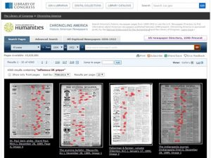 Highlighted Search Terms, Chronicling America, Newspaper Reports on Influenza, January 1890