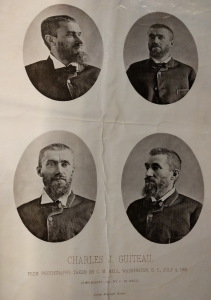Published photographs of Guiteau by C.M. Bell, taken 2 days after Guiteau shot President Garfield. From the George Miller Beard papers, Box 3, MS 584, Manuscripts and Archives, Yale University.
