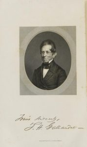 Portrait of Thomas H. Gallaudet (1787-1851). Gallaudet is shown here wearing glasses; his name in American Sign Language is the same as the sign for GLASSES.  From Henry Barnard, A discourse in commemoration of the life, character, and services of the Rev. Thomas H. Gallaudet, LL. D. : delivered before the citizens of Hartford, Jan. 7th, 1852 : with an appendix containing history of deaf-mute instruction and institutions and other documents (Hartford: Brockett & Hutchison, 1852):