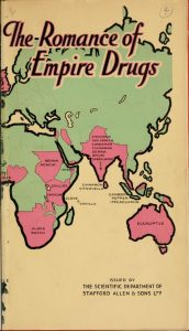 Bi-color map of the late British Empire with drug sources highlighted.